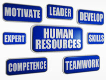 Human resources - blue business concept. Human resources - text in 3d blue banners with business concept words Royalty Free Stock Photos