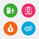 Human resources and Business. Checklist document. Human resources icons. Checklist document sign. Money bag and gear symbols. Man at the door. Round buttons on Stock Photo