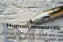 Human resources. CLose up of Human resources Stock Photography