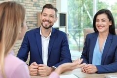 Human resources commission conducting job interview. With applicant in office royalty free stock photo