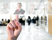 Human Resources concept. / hand choosing employees options Stock Photos