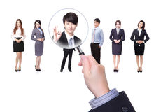 Human resources concept. Choosing the perfect candidate for the job model, asian people Royalty Free Stock Image
