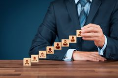 Human resources concept. Human resources and career growth concepts. Businessman complete company with CEO royalty free stock image