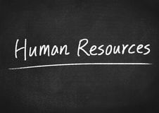 Human resources concept. Text on blackboard background Royalty Free Stock Photo