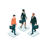Human resources. Corporate business people holding a briefcase on a app button: human resources, business and technology concept Stock Images
