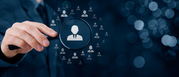 Human resources and CRM. Human resources, CRM, data mining and social media concept - officer looking for employee represented by icon. Gender discrimination in Royalty Free Stock Image