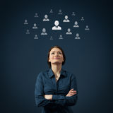 Human resources and CRM. Human resources, CRM and social networking concept - female officer think about employee Royalty Free Stock Image