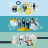 Human resources flat banners set Royalty Free Stock Photos