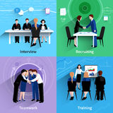 Human resources 4 flat icons square Royalty Free Stock Photography