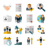 Human resources flat shadow icons set Royalty Free Stock Image