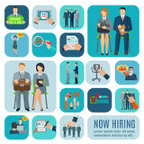 Human resources hiring flat icons set Royalty Free Stock Photography