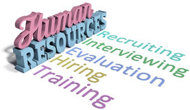 Human resources hiring management. List of Human Resources words for hiring evaluation people management vector illustration