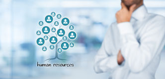 Human resources. (HR) concept.  is a root of a tree in relationships with customers. Customers represented by icons Royalty Free Stock Photography