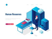 Human resources HR isometric icon concept, employment, office inside interior, table with chair, people thinking stock illustration