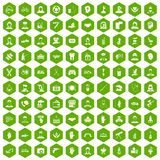 100 human resources icons hexagon green Stock Photography