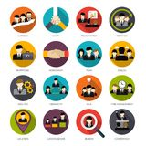Human Resources Icons Set Stock Photo