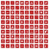 100 human resources icons set grunge red. 100 human resources icons set in grunge style red color isolated on white background vector illustration Royalty Free Stock Images