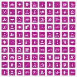 100 human resources icons set grunge pink. 100 human resources icons set in grunge style pink color isolated on white background vector illustration Stock Image