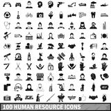 100 human resources icons set in simple style Stock Photos