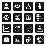 Human Resources Icons White On Black. This image is a vector illustration and can be scaled to any size without loss of resolution Royalty Free Stock Photography
