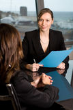 Human resources job talk. Evaluation of a job candidate in a panorama office stock photos