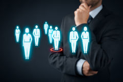 Human resources and leader. Human resources officer choose employee or team leader (CEO). Individual customer marketing and personalization concept Royalty Free Stock Image