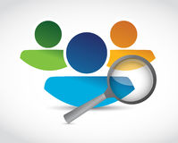 Human resources and magnify glass. illustration Stock Image