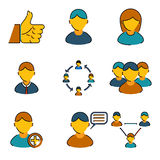 Human resources management business line icons set Stock Image