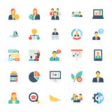 Human Resources and Management Colored Vector Icons 2. Set of thirty human resource icons that are great for presentations Stock Photo