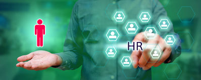 Human resources management concept, Business man pressing HR tex Royalty Free Stock Images