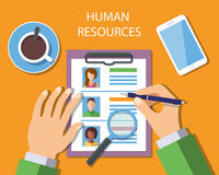 Human Resources Management Concept. Man analyzing personnel resume. Vector Illustration Stock Images
