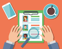 Human Resources Management Concept. Man analyzing personnel resume. Vector Illustration Stock Photos