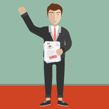 Human resources management concept. Man holding resume and stamp with Approved. Happy man got a job. Human resources management concept, searching professional royalty free illustration