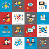 Human Resources Management Flat Icons Collection Royalty Free Stock Photography