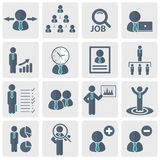 Human resources and management Icon set. Flat vector illustration. Human resources and management Icon set for websites and mobile applications. Flat vector Royalty Free Stock Images