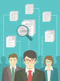 Human Resources Management. Vector flat conceptual illustration of the human resources management, searching for a perfect specialist, analysing resume of Stock Image