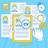 Human resources manager is doing research on CV and resume Royalty Free Stock Image
