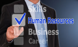 Human Resources - Manager with touchscreen buttons. And text royalty free stock photography