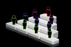 Human resources officer choose employee standing out of the crowd. Select team leader concept. Gender discrimination in employees. Selection royalty free illustration