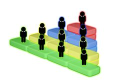 Human resources officer choose employee standing out of the crowd. Select team leader concept. Gender discrimination in employees. Selection stock illustration