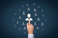 Human resources. Officer (HR) choose employee standing out of the crowd. Select team leader concept. Gender discrimination in employees selection Stock Images