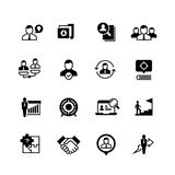 Human resources and person management icons. Job interview, employee choice and recruitment vector symbols isolated. Illustration of job and employee Royalty Free Stock Photos