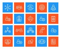 Human resources and personnel management icons. Set, linear, eps 10 file, easy to edit Royalty Free Stock Image