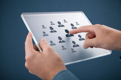 Human resources recruitment. Human resources, personal audit, CRM, and assessment center concept - recruiter select employee (or team leader) represented by icon stock photos