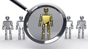 Human resources search. Concept with four metallic characters and a golden character in a magnifying glass revealing that he is selected/worthy Royalty Free Stock Images