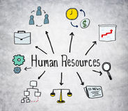 Human Resources Symbols on Concrete Background Royalty Free Stock Image