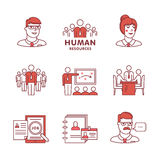 Human resources, team work and building signs set Royalty Free Stock Photos