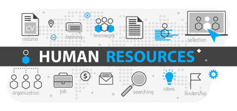 Human resources web banner concept. Outline line business icon set. HR Strategy team, teamwork and corporate organization  i. Human resources web banner concept Royalty Free Stock Photos