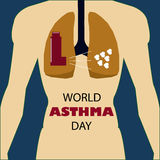The human respiratory system medical illustration with internal organs.Lungs .World Asthma Day.  Stock Photos