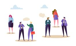 Human Right Discrimination Concept. Woman Character Stay Aside From Talking Man. Negative Communication in Social, Corporate Race. Bullying, Racism. Flat royalty free illustration